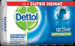 Sabun Anti Bakteri Dettol Active (4+1 105g)